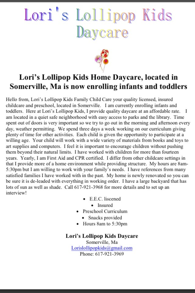 lori�s lollipop kids home daycare located in somerville
